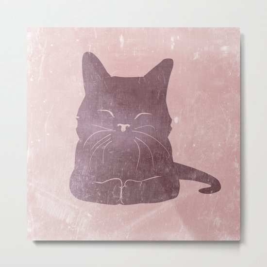 Happy purple cat illustration on pink for girls Metal Print