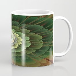 Abstract Flower Brown And Green, Fractal Art Coffee Mug