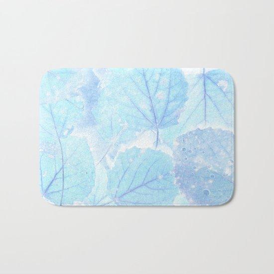 Blue autumn leaves Bath Mat