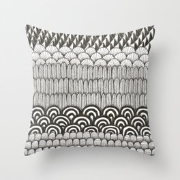 layered black and white doodle pattern Throw Pillow