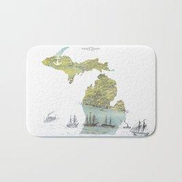 Ships Along the Shore - Michigan circa 1868 Bath Mat