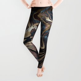 Marble Paint Swirl Trendy Abstract Glitter Rose Gold Pink Teal Turquoise Leggings