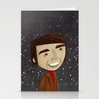 carl sagan Stationery Cards featuring Carl Sagan by Stephanie Fizer Coleman