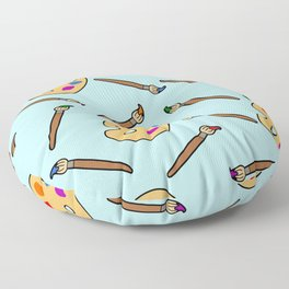 Paintbrush and palette pattern Floor Pillow