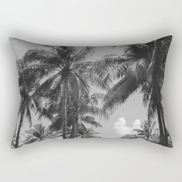 Palm Trees Black and White Photography Rectangular Pillow
