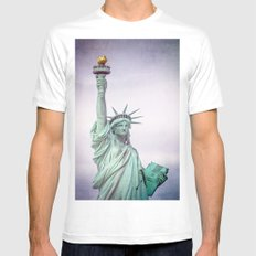 Lady Liberty Mens Fitted Tee MEDIUM White