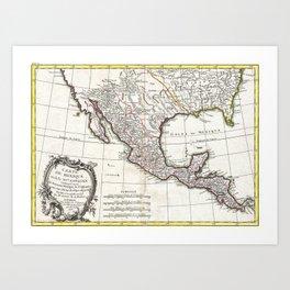 Map of Mexico, Texas, Louisiana and Florida - Bonne - 1771 Art Print
