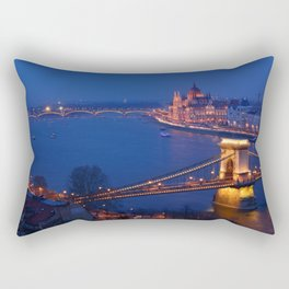 Panorama of Budapest, Hungary, with the Chain Bridge and the Parliament. Rectangular Pillow
