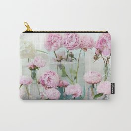 Peonies Cottage Aqua Pink Shabby Chic Watercolor Peony Prints Home Decor Carry-All Pouch
