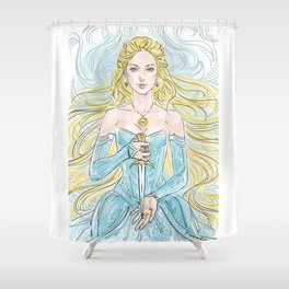 princess with a knife Shower Curtain