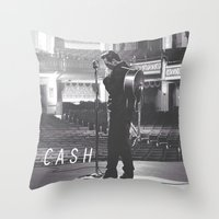 johnny cash Throw Pillows featuring Johnny Cash by Earl of Grey