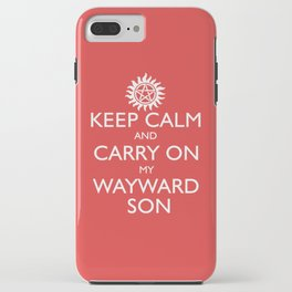 SUPERNATURAL KEEP CALM AND CARRY ON MY WAYWARD SON - White Text iPhone Case