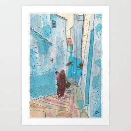 Chefchaouen Street, Blue City Morocco Cityscape Paper Collage Sketch Art Print