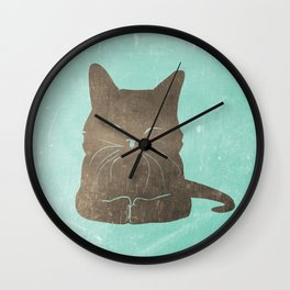 Happy cat illustration in blue and brown Wall Clock