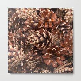 Woodland Pinecones Metal Print