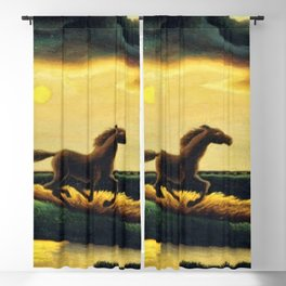 Classical Masterpiece 'The Race' - Horse and Train by Thomas Hart Benton Blackout Curtain