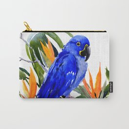 Hyacinth Macaw, Tropical colors foliage, jungle paradise flowers blue orange jungle colors Carry-All Pouch