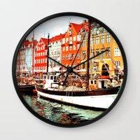 denmark Wall Clocks featuring Copenhagen, Denmark by Philippe Gerber