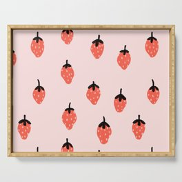 Pink strawberry fields forever Serving Tray