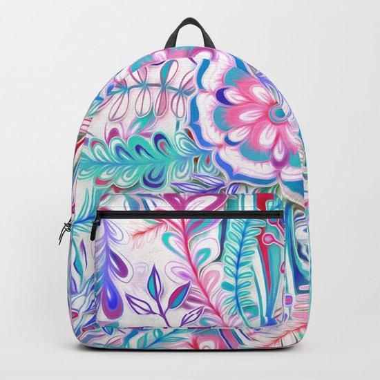 Boho Flower Burst in Pink and Teal Backpack