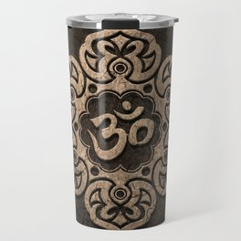Aged Stone Lotus Flower Yoga Om Travel Mug