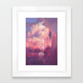 Moontime Glitches Framed Art Print
