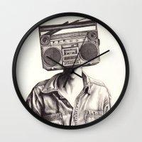 radio Wall Clocks featuring Radio-Head by KatePowellArt