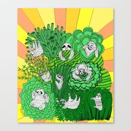 Sloths and Succulents Canvas Print
