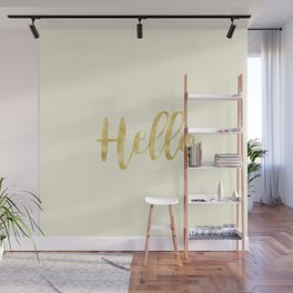 Hello in Golden Yellow on Cream Wall Mural