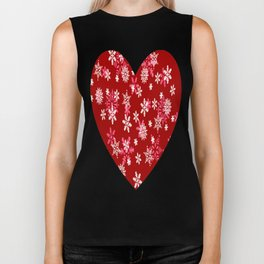 Red Heart Of Snowflakes Loving Winter and Snow Biker Tank
