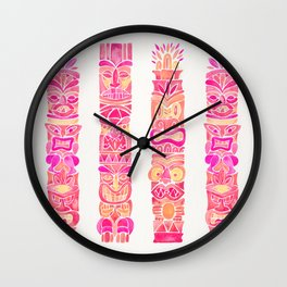 Tiki Totems – Pink Palette Wall Clock