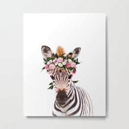 Baby Zebra With Flower Crown, Baby Animals Art Print By Synplus Metal Print