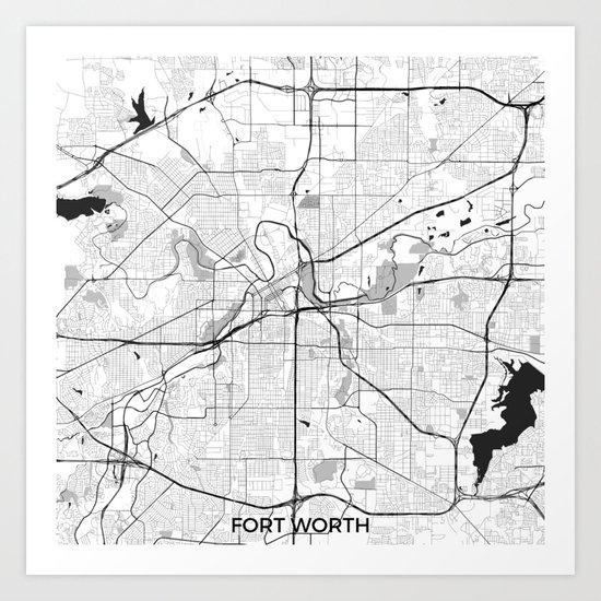 Fort Worth Map Gray Art Print
