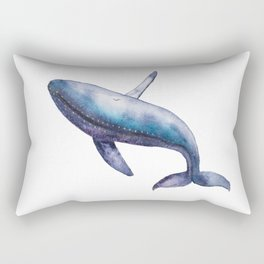 Humpback Whale Breech Watercolor Rectangular Pillow