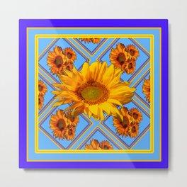 Baby Blue Pattern Sunflowers Art Design Metal Print