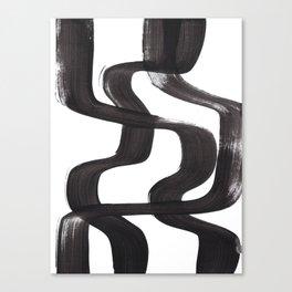 Black And White Minimalist Mid Century Abstract Ink Art Ripple Maze Lines Retro Style Canvas Print