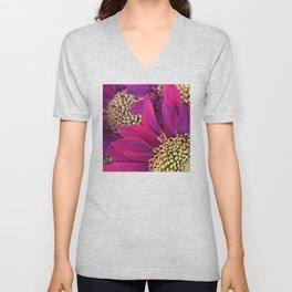 Exotic Bright Pink Red Flowers With Gold Centers Unisex V-Neck