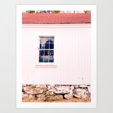 White Barn Window Art Print