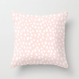 Hand drawn dots on pink - Mix & Match with Simplicty of life Throw Pillow