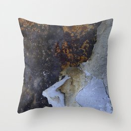 Old white paint on rusty metal Throw Pillow