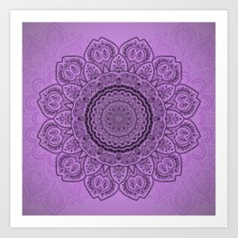 Sunflower Mandala on Lavender Art Print