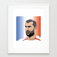 zidane Framed Art Prints featuring Zinedine Zidane Illustration by Stephanie Post