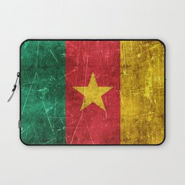 Vintage Aged and Scratched Cameroon Flag Laptop Sleeve