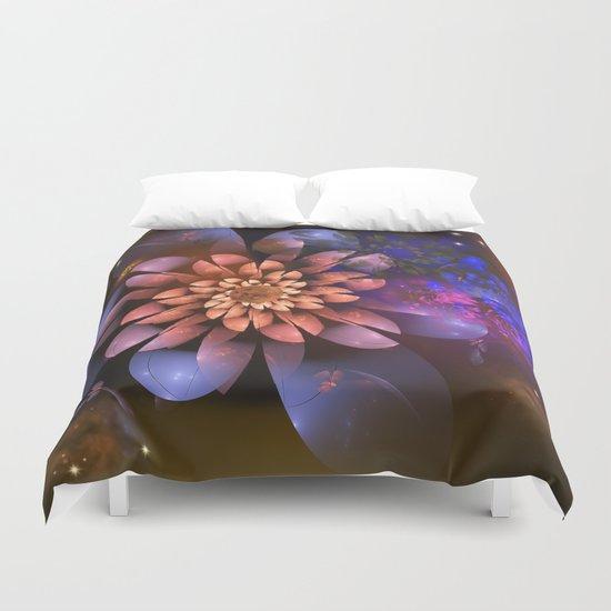 Cosmic flowers in universe Duvet Cover