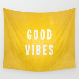 Sunny Yellow and White Distressed Effect Good Vibes Wall Tapestry