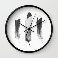 sketch Wall Clocks featuring Feathers Sketch by Amy Hamilton