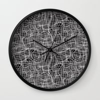 grid Wall Clocks featuring Grid by ChantalNathalie