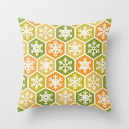 Nordic Yellow Green Orange Honeycomb Christmas Snowflake Throw Pillow