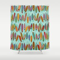 surf Shower Curtains featuring Surf by Helene Michau