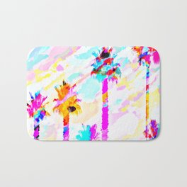 palm tree with colorful painting texture abstract background in pink blue yellow red Bath Mat